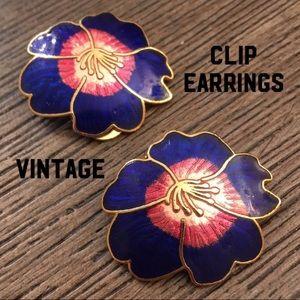Vintage Cloisonné Flower Earrings Blue & Pink